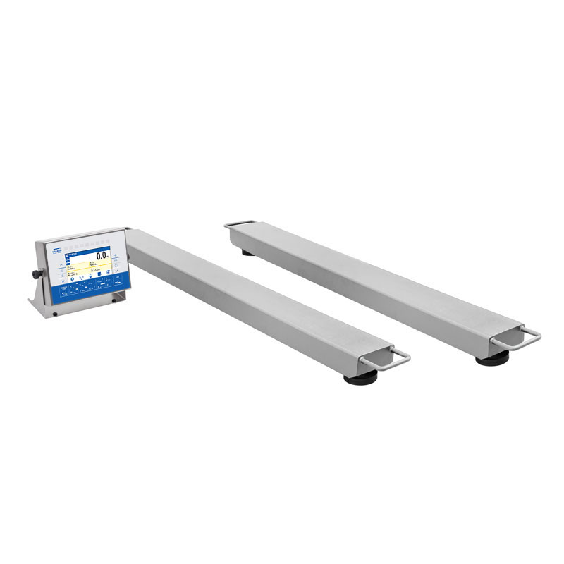 HX7.4P2.2000.H1 Stainless Steel Multifunctional Beam Scale - 4-load-cell, 2-component mechanical design stands for high measurement accuracy. The weights may be loaded onto the pan using a forklift or a transporter crane, supplementary handles significantly facilitate the transport