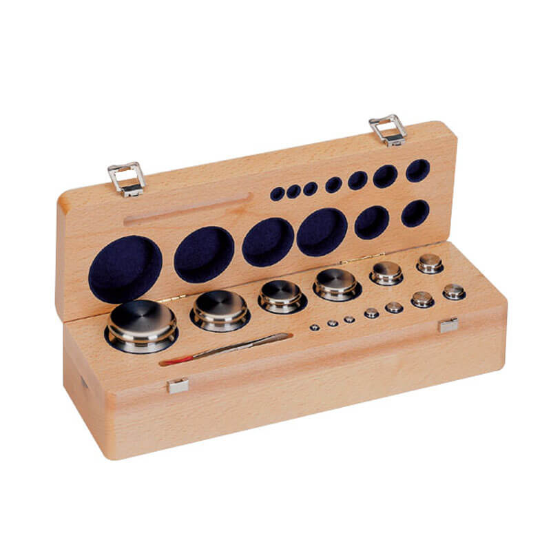 Cylindrical weights, set (1 mg - E1 Mass Standard - sets (1 mg - 2 kg), wooden box. - Radwag Balances and Scales