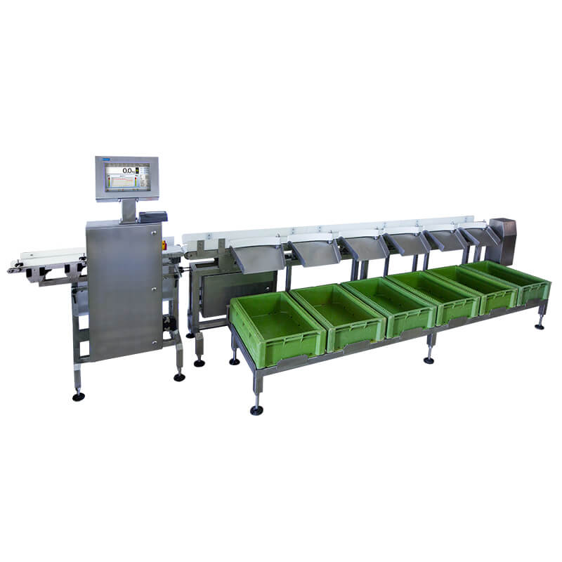 DWM 6000/HPS Checkweigher - Universal mechanic design guarantees that the DWM HPS can be adopted to needs of other branches of industry. Sorting checkweigher of RADWAG production is a hi-tech weighing device equipped with specialized automatics system providing precise and fast product separation