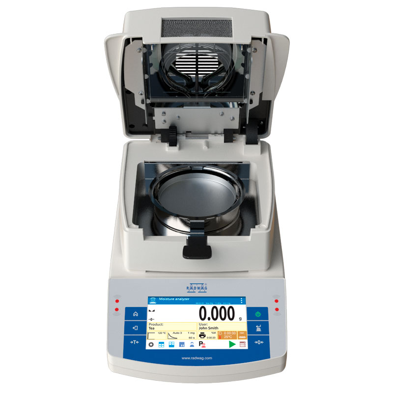MA 210.X2.A Moisture Analyzer - X2.A series is equipped with innovative system: the drying chamber can be opened and closed automatically using button or proximity sensors Such solution allows: Maintaining moisture analyzer clean – operator does not touch moisture analyzer's housing