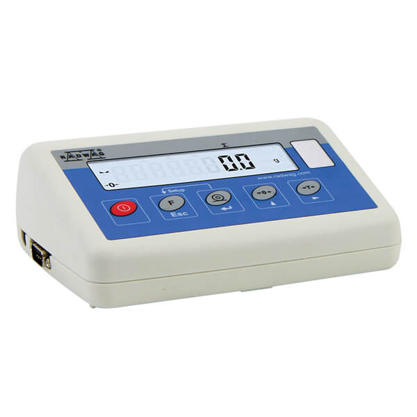 PUE C315 Indicator - Functions of an indicator PUE C315 series: measuring units: [g], [kg], [N], [ct], [lb]; tarring in whole measuring range; automatic tare, tare memory; parts counting with equal part mass; +/- control of mass with set standard; percent setup with set standard; averaging of weighing result, digital filter; control of power supply from batteries; scale timer switch off; adjustable backlight on powering by batteries; adjustable baud rate between 1200-38400 bit/s; continuous data transmission through RS 232; manual or automatic mode for RS 232; weighing loads with switched off autozero function; measurement of maximum force or maximum mass placed on weighing pan; measurement of force influencing the weighing pan (in Newtons); start mass control; slot for connecting an additional LCD display; totalizing mode.  The indicator PUE C315 series enables designing printouts according to individual needs