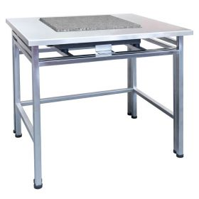 SAP/H – anti vibration table in stainless steel technology - The design, consisting of two elements prevents pressure being applied to the top, from being transferred to scales. The table is characterized by stable, steel frame, equipped with adjustable levelling feet and massive granite top for scales