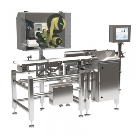 DWM 3000 HPE Labelling Checkweigher - Advanced Label Application System Depending on the requirements of production process, blow or tamp applicators mounted on the actuator or on the rotary arm can be used. With this solution it is possible to label the product on each side