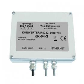 Konverter KR - Passend für Wägemessgeräte PUE C/31H, PUE C/31H/Z.  Konverter im rostfreien Gehäuse, RS-232-Kabel mit wasserdichtem Stecker, wasserdichtem Ethernet-Steckplatz