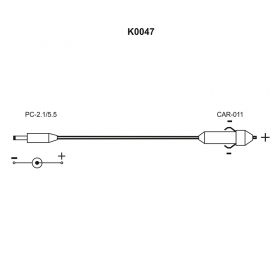 K0047 Kablo - Cable with jack for plugging to a car lighter 12V (PUE C31). Standard cable length: 1,7m Compatible with: - Scales operated by means of PUE C31 indicator - PUE C31 indicator - Radwag Terazileri İleri Tartım Teknolojileri
