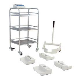 Balanza de cama WPT/4B 500C - Cuatro módulos de pesaje conectados por cables permiten colocarlos debajo de la cama con cualquier huella de rueda. Se utiliza un elevador especial (adaptado para ruedas con diámetros de 100 a 200 mm) para elevar las ruedas de la cama