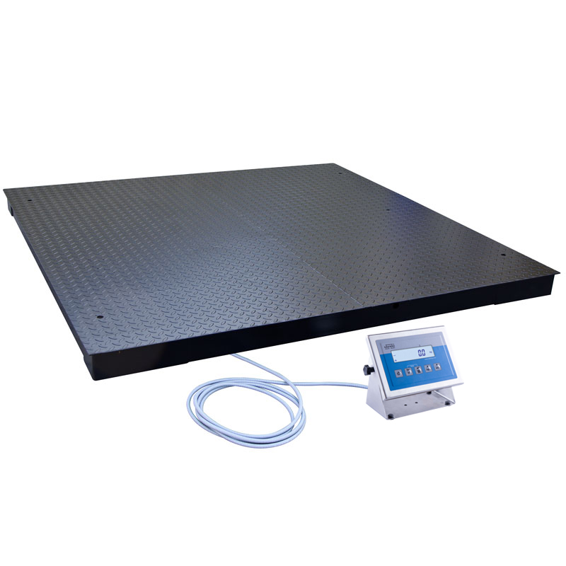 WPT/4 3000 C10 Platform Scale - The platform comprises 4 load cells connected to an indicator PUE C/31H series featuring backlit LCD display and 5 function buttons. The weighing platform and the indicator are connected through a long cable enabling hanging the indicator on a wall