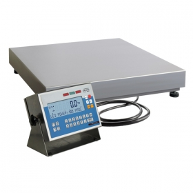 WPW/T 3/H1/FH Waterproof Control Scale -   The scales is dedicated mainly for fish and meat processing plants, requiring fast and reliable measurements combined with scales robust construction resistant to operating in harsh ambient conditions. Due to the specificity of major clients for whom the WPW/T/FH series is dedicated, the instrument's construction is fully based on stainless steel components, with terminal's housing made of 0H18N9Z steel featuring a clear LCD display